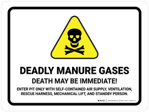 Deadly Manure Gases - Death May Be Immediate with Hazard Icon Landscape - Wall Sign
