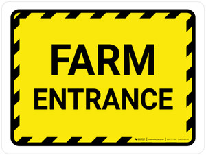 Farm Entrance with Hazard Lines Landscape - Wall Sign