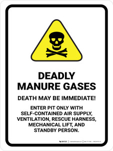 Deadly Manure Gases - Death May Be Immediate with Hazard Icon Portrait - Wall Sign