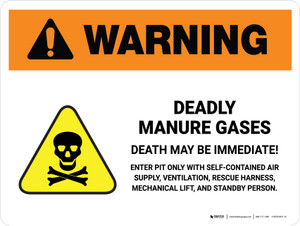 Warning: Deadly Manure Gases with Hazard Icon White Landscape - Wall Sign