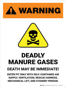 Warning: Deadly Manure Gases with Hazard Icon White Portrait - Wall Sign