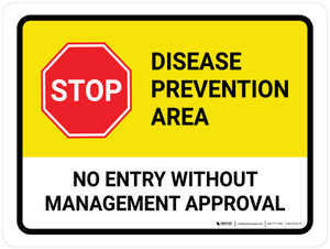 Stop: Disease Prevention Area Landscape - Wall Sign