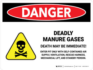 Danger: Deadly Manure Gases with Hazard Icon Landscape - Wall Sign