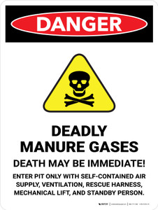 Danger: Deadly Manure Gases with Hazard Icon Portrait - Wall Sign