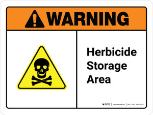 Warning: Herbicide Storage Area ANSI Landscape - Wall Sign