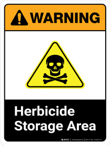 Warning: Herbicide Storage Area ANSI Portrait - Wall Sign