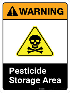 Warning: Pesticide Storage Area ANSI Portrait - Wall Sign