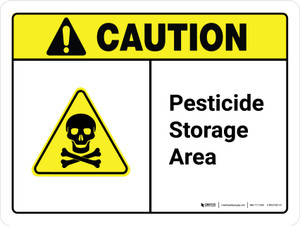 Caution: Pesticide Storage Area with Hazard Icon ANSI Landscape - Wall Sign