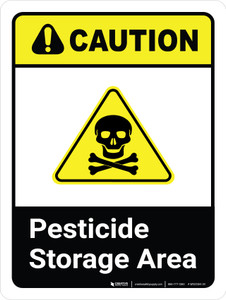 Caution: Pesticide Storage Area with Hazard Icon ANSI Portrait - Wall Sign