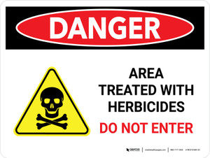 Danger: Area Treated With Herbicides - Do Not Enter Landscape - Wall Sign