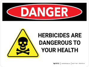 Danger: Herbicides Are Dangerous with Hazard Icon Landscape - Wall Sign