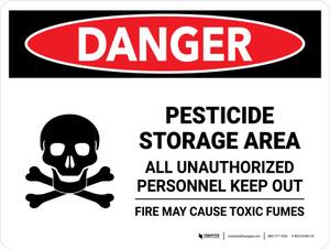 Danger: Pesticide Storage Area All Landscape - Wall Sign