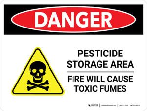 Danger: Pesticide Storage Area Fire Landscape - Wall Sign