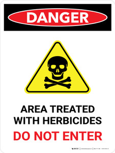 Danger: Area Treated With Herbicides Do Portrait - Wall Sign