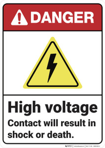 Danger: High Voltage Contact ANSI - Wall Sign