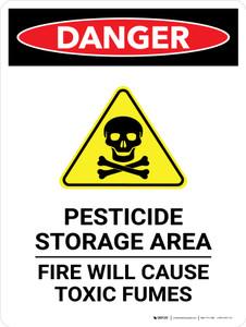 Danger: Pesticide Storage Area Fire Portrait - Wall Sign