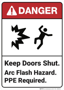 Danger: Keep Doors Shut Arc Flash Hazard - Wall Sign