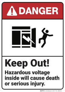 Danger: Keep Out Hazardous Voltage - Wall Sign