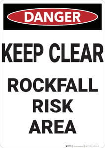 Danger: Keep Clear Rockfall Risk - Wall Sign