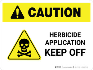 Caution: Herbicide Application - Keep Off with Hazard Icon Landscape - Wall Sign
