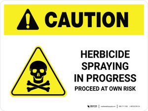 Caution: Herbicide Spraying In Progress with Hazard Icon Landscape - Wall Sign
