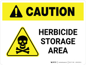 Caution: Herbicide Storage Area with Hazard Icon Landscape - Wall Sign
