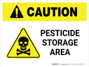 Caution: Pesticide Storage Area with Hazard Icon Landscape - Wall Sign