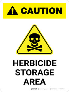 Caution: Herbicide Storage Area with Hazard Icon Portrait - Wall Sign