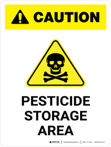 Caution: Pesticide Storage Area with Hazard Icon Portrait - Wall Sign