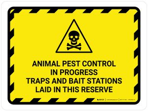 Animal Pest Control In Progress Traps with Hazard Icon Landscape - Wall Sign