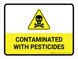 Contaminated With Pesticides with Hazard Icon Landscape - Wall Sign