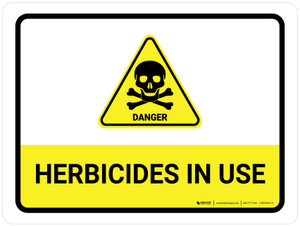 Herbicides In Use with Hazard Danger Icon Landscape - Wall Sign