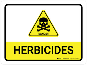 Herbicides with Hazard Danger Icon  Landscape - Wall Sign