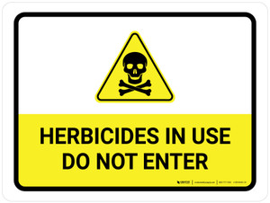 Herbicides In Use - Do Not Enter with Hazard Icon Landscape - Wall Sign