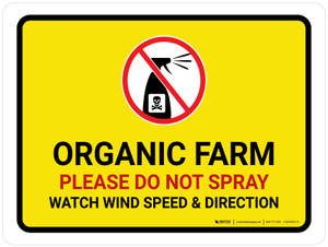 Organic Farm - Please Do Not Spray with Icon Landscape - Wall Sign