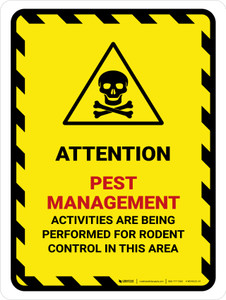 Attention: Pest Management - Activities are Being Performed Hazard Lines with Icon Portrait - Wall Sign