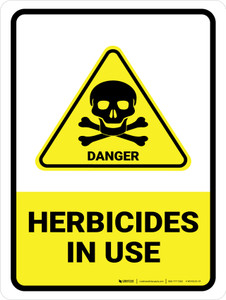Herbicides In Use with Danger Hazard Icon Portrait - Wall Sign