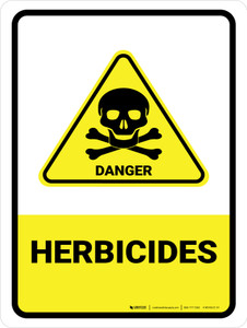 Herbicides with Danger Hazard Icon Portrait - Wall Sign