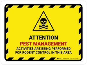 Attention Pest Management Activities with Hazard Icon Landscape - Wall Sign
