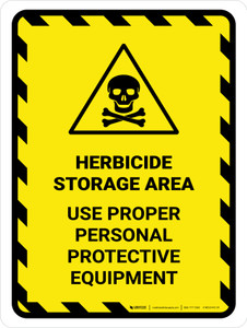 Herbicide Storage Area - Use Proper PPE Hazard Lines with Icon Portrait - Wall Sign