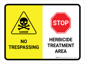 No Trespassing - Herbicide Treatment Area with Icons Landscape - Wall Sign