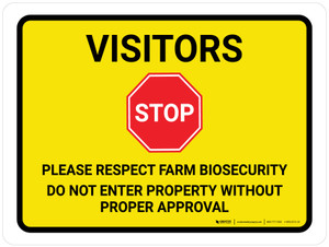 Visitors: Respect Farm Biosecurity - Do Not Enter Property Landscape - Wall Sign