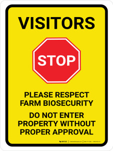 Visitors: Stop - Please Respect Farm Biosecurity Portrait - Wall Sign