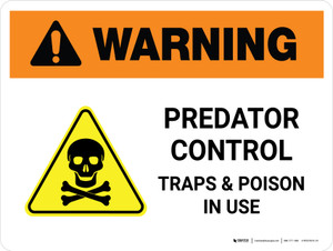 Warning: Predator Control Traps & Poison In Use Landscape - Wall Sign