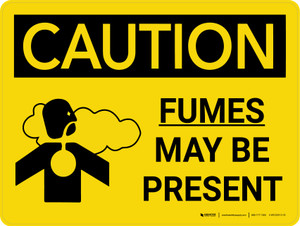 Caution: Fumes May Be Present Landscape With Icon - Wall Sign