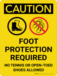 Caution: Foot Protection Required No Tennis Or Open Toed Shoes Portrait With Icons - Wall Sign