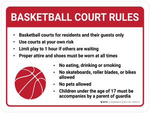 Basketball Court Rules Landscape with Icon - Wall Sign