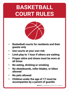 Basketball Court Rules Portrait with Icon - Wall Sign
