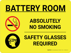 Battery Room No Smoking Safety Glasses Required Landscape with Icon - Wall Sign