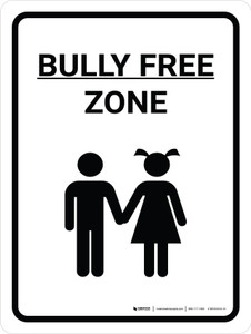 Bully Free Zone Portrait With Icon - Wall Sign